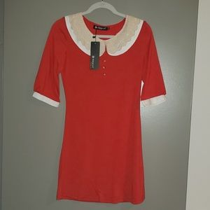 NEW red dress with lace detail collar